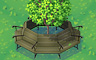 Green Oak With Round Bench Badge - Solitaire Gardens