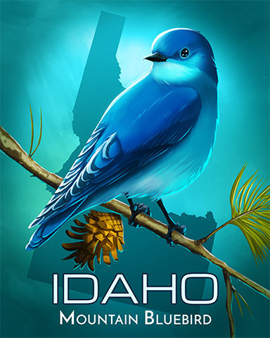 Idaho Mountain Bluebird Badge - Jet Set Solitaire