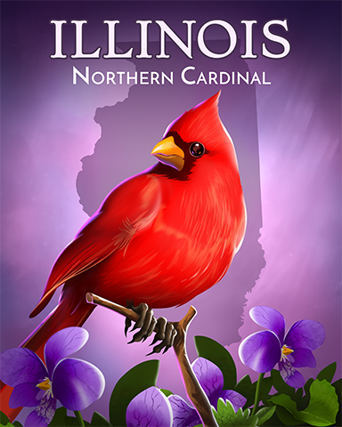 Illinois Northern Cardinal Badge - World Class Solitaire HD