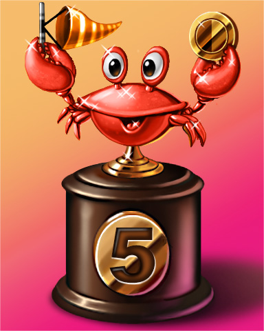 Crab Cup Lap 5 Badge - Jet Set Solitaire