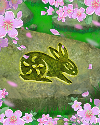 Spring Stone Rabbit Badge - Sweet Tooth Town