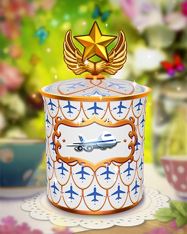 Jet Set Tea Caddy Badge - Jet Set Solitaire