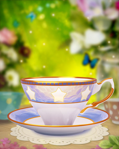 Cloudy Stars Teacup Badge - Bejeweled Stars