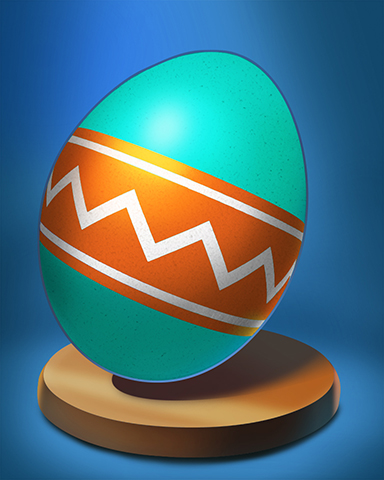 Zigzag Ribbon Egg Badge - World Class Solitaire HD