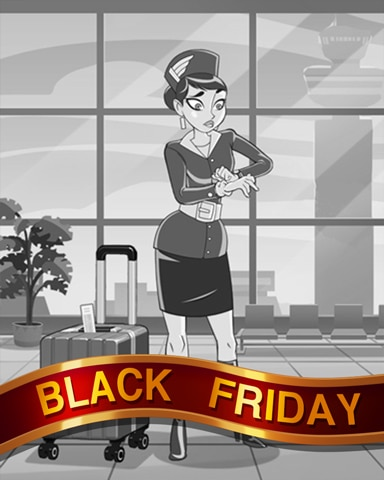 Airport Delays Black Friday Badge - Jet Set Solitaire