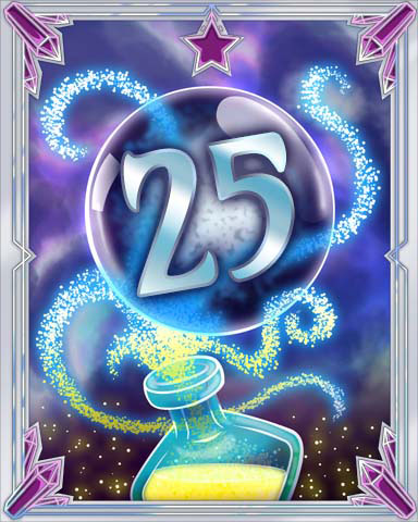 Elixir Bottle 25 Badge - Jet Set Solitaire