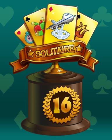 Golden Hand Lap 16 Badge - Solitaire Blitz