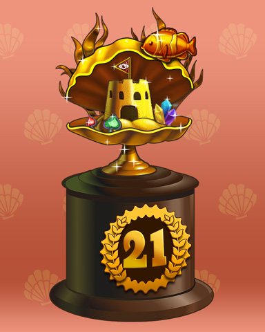 Clamshell Castle Lap 21 Badge - Tri-Peaks Solitaire HD