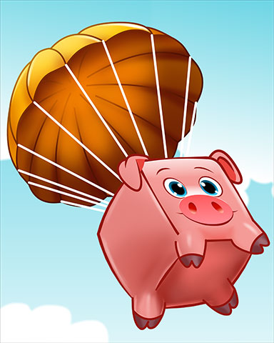 Parachuting Pork Badge - Stack'em HD