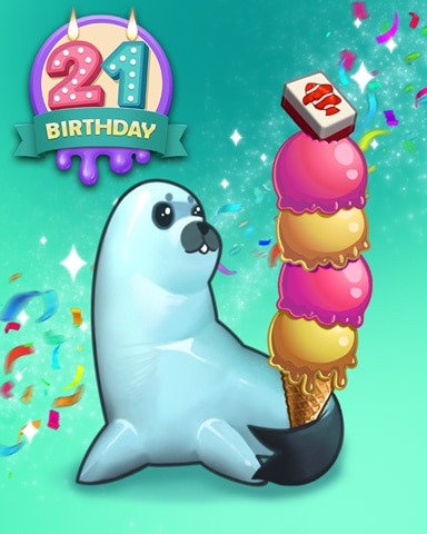 Ice Cream Seal Badge - Mahjong Safari HD